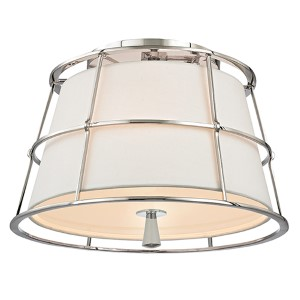 Savona Polished Nickel Two-Light Semi Flush with Linen Shade