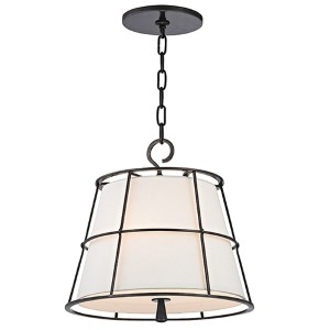 Savona Old Bronze Two-Light Pendant with Linen Shade