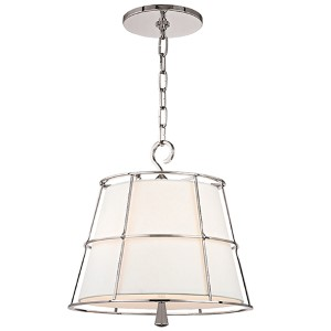 Savona Polished Nickel Two-Light Pendant with Linen Shade