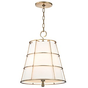 Savona Aged Brass Three-Light Pendant with Linen Shade