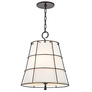 Savona Old Bronze Three-Light 21.5-Inch High Pendant with Linen Shade