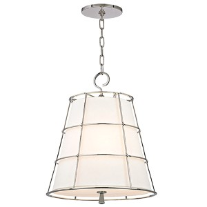 Savona Polished Nickel Three-Light Pendant with Linen Shade