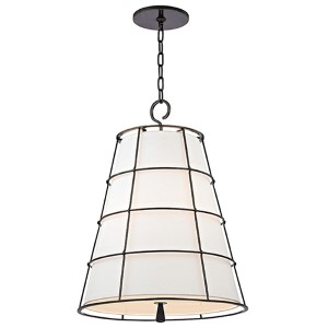 Savona Old Bronze Three-Light 27-Inch High Pendant with Linen Shade