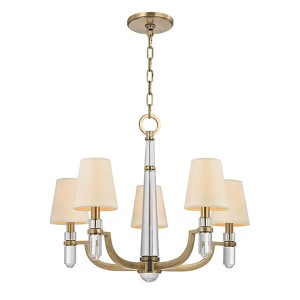 Dayton Aged Brass Five-Light Chandelier with Cream Shade