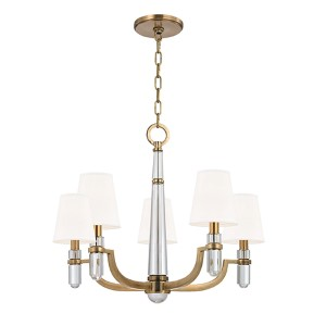 Dayton Aged Brass Five-Light Chandelier with White Shade