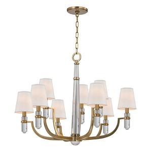 Dayton Aged Brass Nine-Light Chandelier with Cream Shade