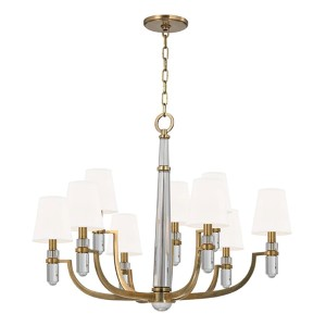 Dayton Aged Brass Nine-Light Chandelier with White Faux Silk Shade