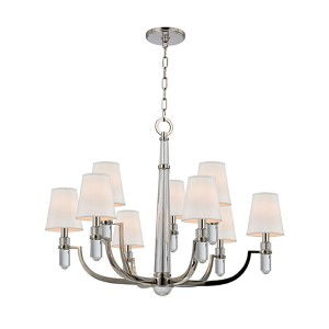 Dayton Polished Nickel Nine-Light Chandelier with Cream Shade