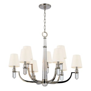 Dayton Polished Nickel Nine-Light Chandelier with White Faux Silk Shade