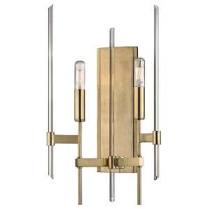 Bari Aged Brass Two-Light Wall Sconce with Clear Glass