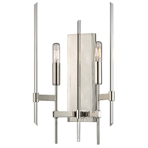 Bari Polished Nickel Two-Light Wall Sconce with Clear Glass