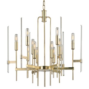 Bari Aged Brass 12-Light Chandelier with Clear Glass
