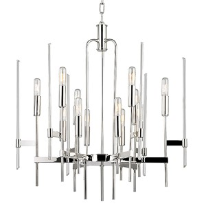 Bari Polished Nickel 12-Light Chandelier with Clear Glass