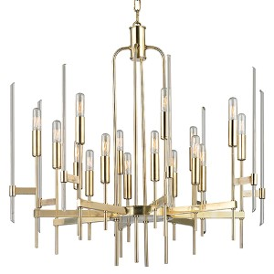 Bari Aged Brass 16-Light Chandelier with Clear Glass
