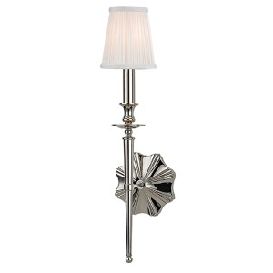 Ellery Polished Nickel One-Light Wall Sconce with Off-White Shade