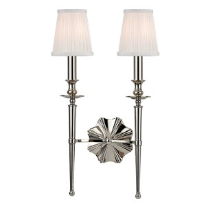 Ellery Polished Nickel Two-Light Wall Sconce with Off-White Shade