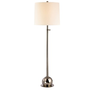 Marshall Polished Nickel One-Light Floor Lamp with Cream Shade