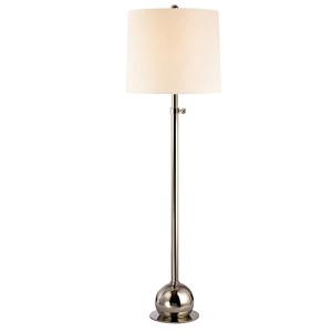 Marshall Polished Nickel One-Light Floor Lamp with White Faux Silk Shade