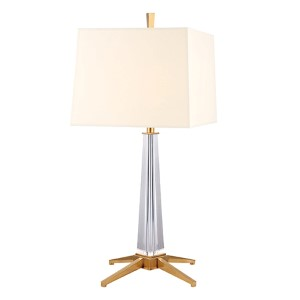 Hindeman Aged Brass One-Light Table Lamp with White Shade