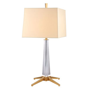 Hindeman Aged Brass One-Light Table Lamp with Cream Shade