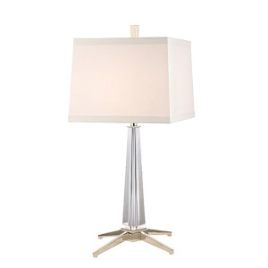 Hindeman Polished Nickel One-Light Table Lamp with White Shade