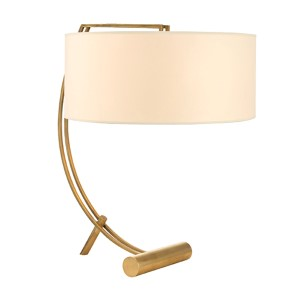 Deyo Aged Brass Two-Light Table Lamp with Cream Shade
