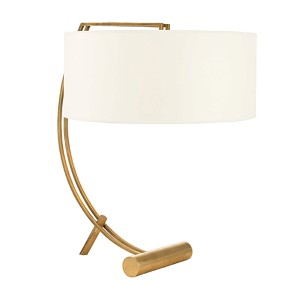 Deyo Aged Brass Two-Light Table Lamp with White Shade