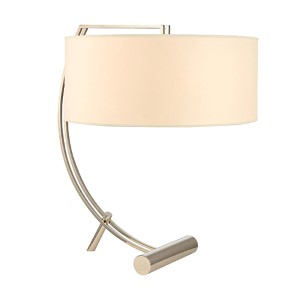 Deyo Polished Nickel Two-Light Table Lamp with Cream Shade