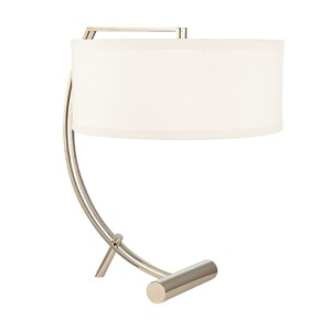 Deyo Polished Nickel Two-Light Table Lamp with White Shade