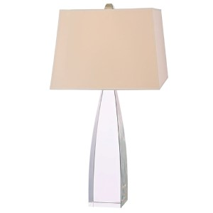 Delano Polished Nickel One-Light Table Lamp with White Faux Silk Shade