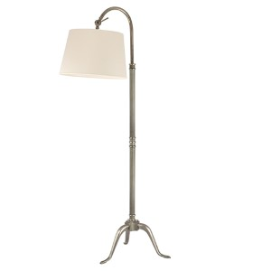 Burton Aged Silver One-Light 60 Inch Floor Lamp with White Shade