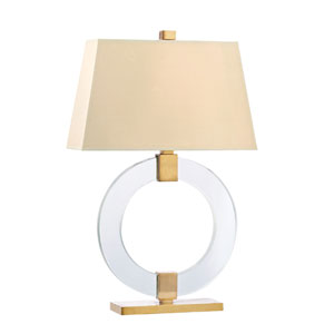 Ames Aged Brass One-Light 29 Inch Table Lamp with Cream Shade