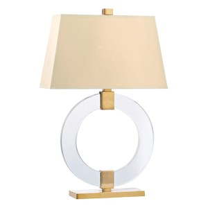 Ames Aged Brass One-Light Table Lamp with White Faux Silk Shade