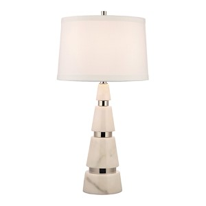 Modena Polished Nickel One-Light 32-Inch Marble Table Lamp with White Shade