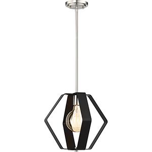 Zen Matte Black and Brushed Nickel One-Light 14-Inch Pendant