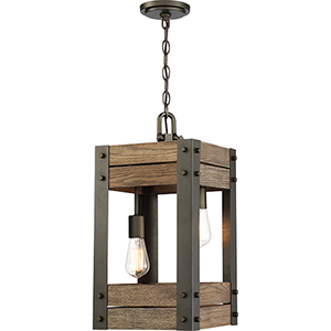 Winchester Bronze and Aged Wood Two-Light 11-Inch Pendant