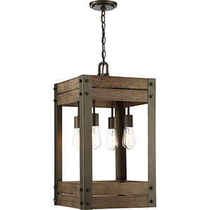 Winchester Bronze and Aged Wood Four-Light 14-Inch Pendant