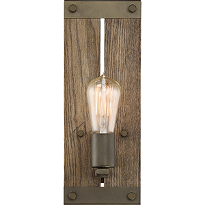 Winchester Bronze and Aged Wood One-Light 5-Inch Wall Sconce
