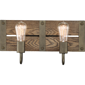 Winchester Bronze and Aged Wood Two-Light 16-Inch Wall Sconce
