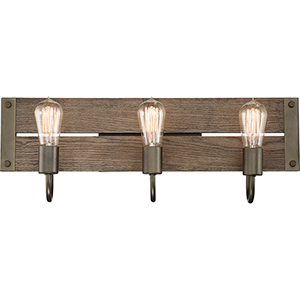 Winchester Bronze and Aged Wood Three-Light 24-Inch Wall Sconce
