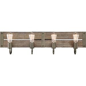 Winchester Bronze and Aged Wood Four-Light 32-Inch Wall Sconce