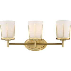 Serene Natural Brass Three-Light Eight-Inch Wall Sconce