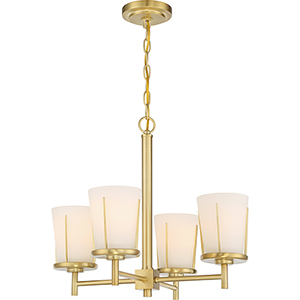 Serene Natural Brass Four-Light Chandelier