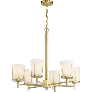 Serene Natural Brass Six-Light 16-Inch Chandelier