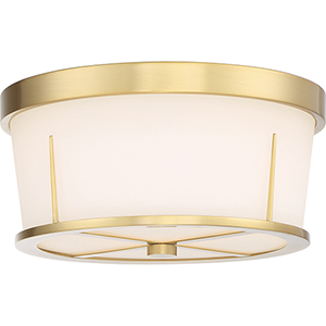 Serene Natural Brass Two-Light Flush Mount