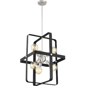 Prana Black Six-Light Foyer Pendant