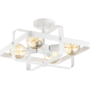 Prana White Four-Light Semi Flush Mount