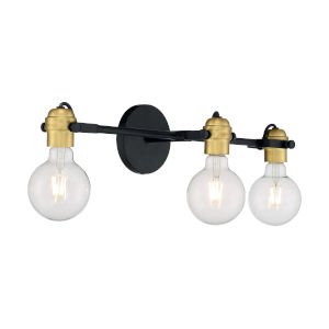 Mantra Black and Brushed Brass Three-Light Bath Vanity