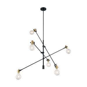 Mantra Black and Brass Six-Light Pendant
