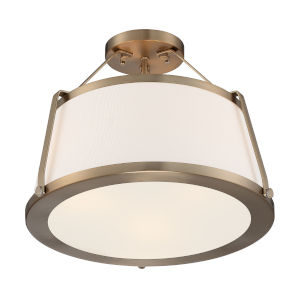 Cutty Burnished Brass Three-Light Semi-Flush Mount
